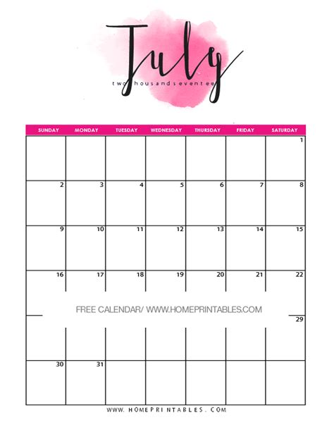 printable calendar 2017 pretty free printable july 2017 calendar 8 colorful styles