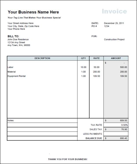 Independent Contractor Invoice Template Invoice Exle Free Construction Invoice Template