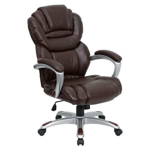 flash furniture high back brown leather executive office