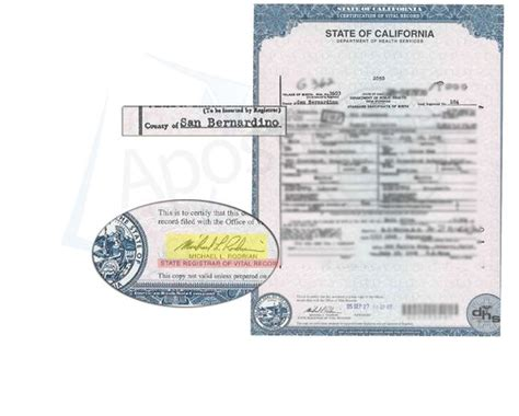 San Bernardino County Of Records Certificate County Of San Bernardino Certificate Of Birth Signed By