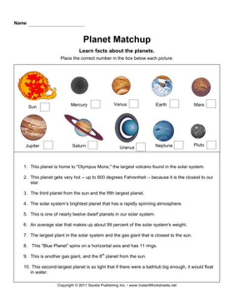 Planet Worksheets by Planets Worksheets Pics About Space