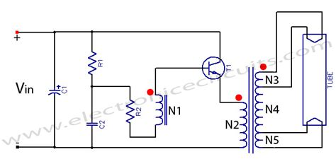 the circuits fluorescent light circuit using 2n3055