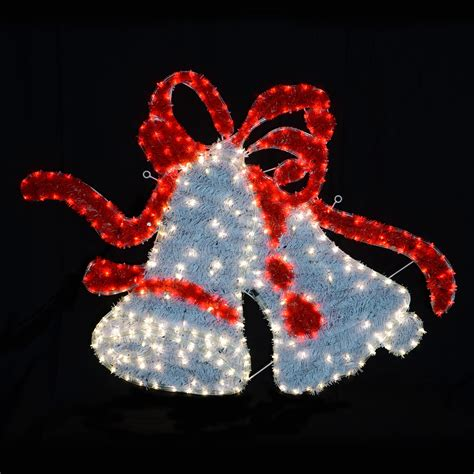 largewhite red twinkle led rope lights twin bell