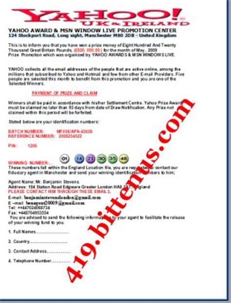 Yahoo Award Letter Yahoo Award Msn Window Live Promotion Center Benjamin