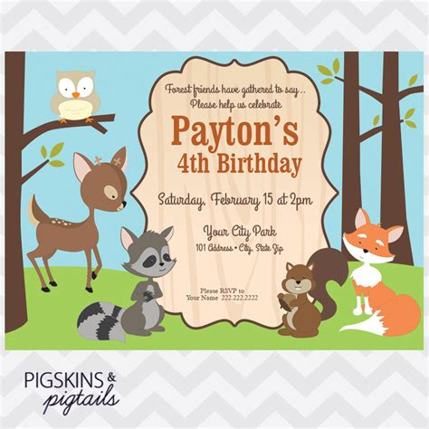 forest friends invitation pigskins pigtails