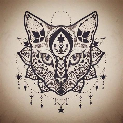 cool mandala cat with lace decorations tattoo design