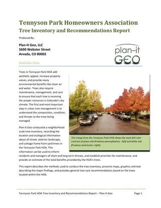 tennyson park hoa tree inventory recommendations report