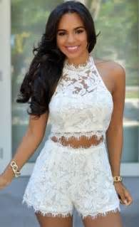 Dress Denim Yana Set white lace cropped set new york fashion new trends