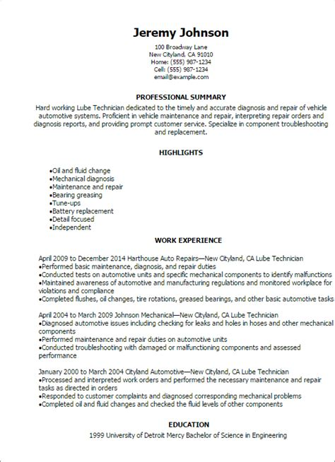 professional lube technician resume templates to showcase your talent myperfectresume