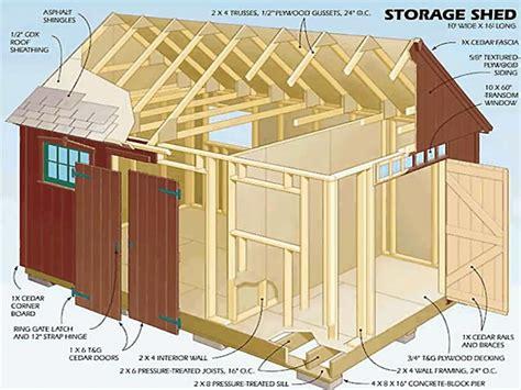 storage shed plans garden storage shed plans building blueprints  treesranchcom