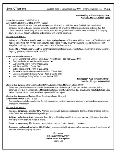 Resume Sales Sle by Sle Resume Resume Sle Sales Representative Slebusinessresume