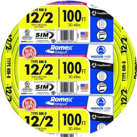 12 2 electrical wire romex 100 ft 12 2 yellow solid simpull nm b wire 28828228