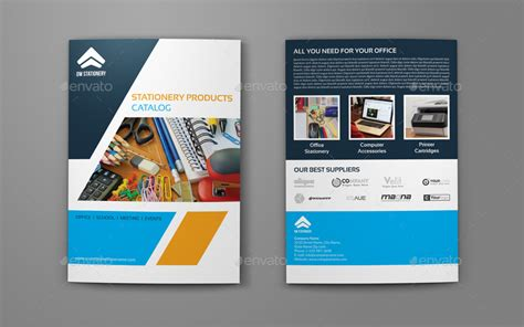 stationery products catalog bi fold brochure template by