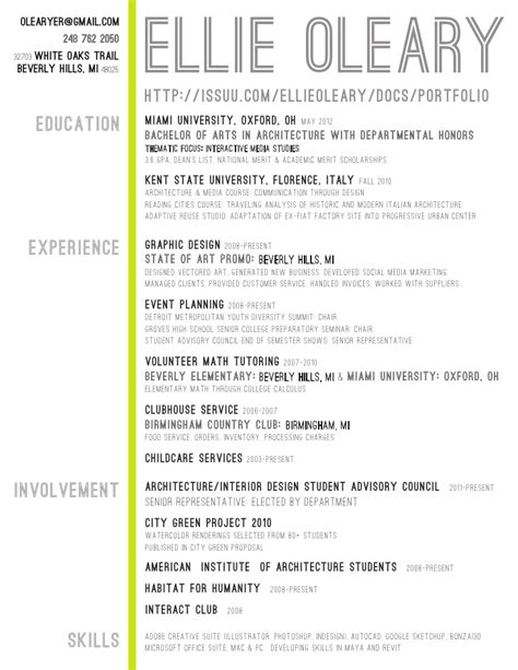architecture student resume experience involment skills writing resume sle writing resume