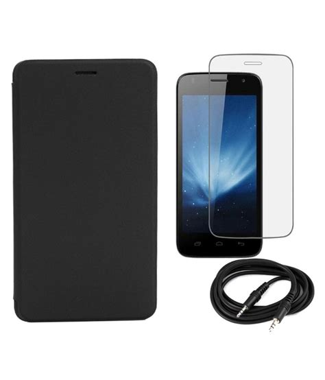 Tempered Glass Lenovo A2010 aravstore flip cover for lenovo a2010 black with tempered glass screen guard and aux cable