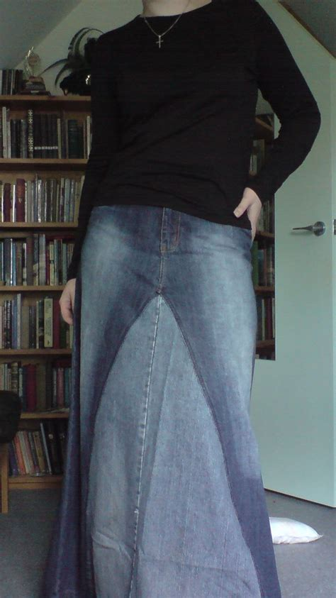 pattern jeans skirt how to sew jeans into a long jean skirt sewing patterns