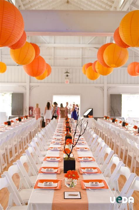 Orange and White Wedding Decor  Chinese Lamps wedding