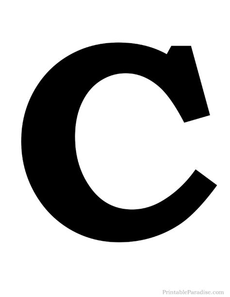 Printable Letter C Silhouette   Print Solid Black Letter C