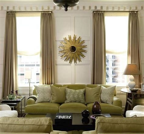 Beige And Green Curtains Decorating Green Velvet Sofa Contemporary Living Room Michael Howard