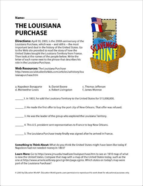 louisiana purchase map activity key the louisiana purchase education world