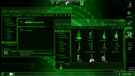 themes and download jarvis green skinpack for win7 8 8 1 skinpack