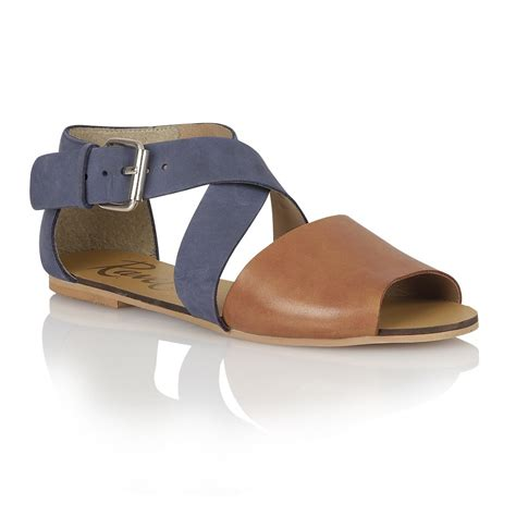 navy sandals buy dallas flat sandals in navy leather