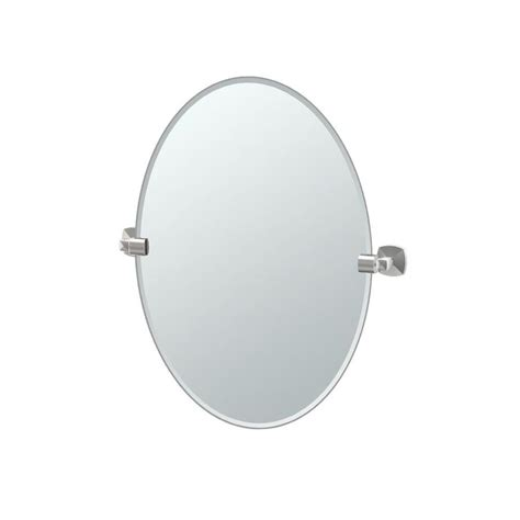 satin nickel bathroom mirror shop gatco jewel 19 5 in x 26 5 in satin nickel oval