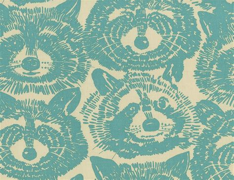 Henry Quilt Fabric by Henry Rocky Racoon Turquoise 100 Cotton