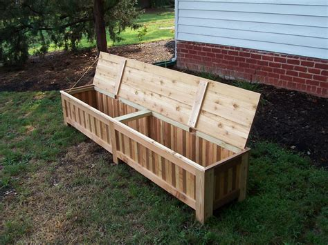 hand  custom western red cedar patio storage bench