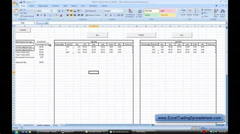 Excel Trading Spreadsheet Youtube Trading Excel Template