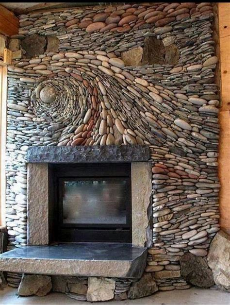spectacular river rock fireplace for the home