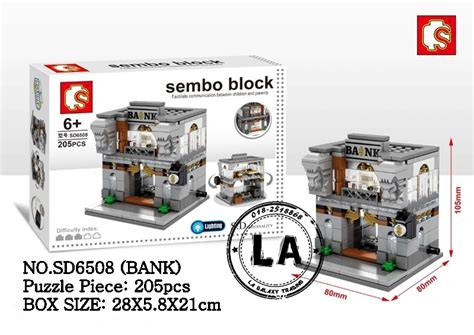 sembo block sd6508 bank city building block with led light lego compatible