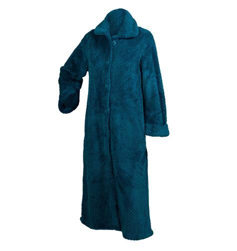 bathroom robes slenderella ladies soft waffle fleece dressing gown button