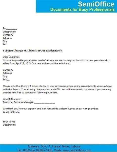 Bank Details Letter To Customers Change Of Address Letter For Customers