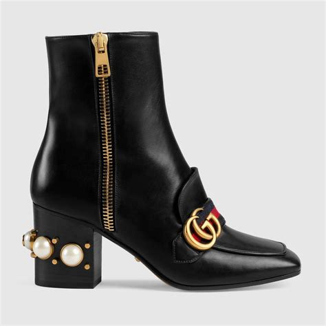 Embellished Leather Boots gucci peyton faux pearl embellished leather boots in nero