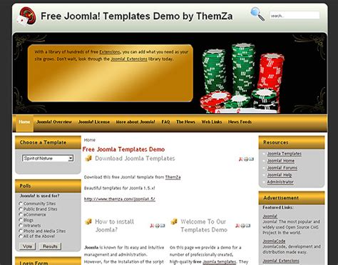 joomla tutorial video free download casino royale free joomla 1 5 template by themza