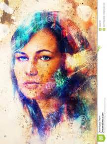 Acrylic Paint For Wall Murals young woman portrait with long dark hair and blue eye