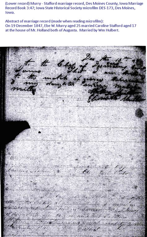 Iowa Genealogy Marriage Records Murry Stafford Marriage Record 19 Dec 1847 Des Moines County Iowa