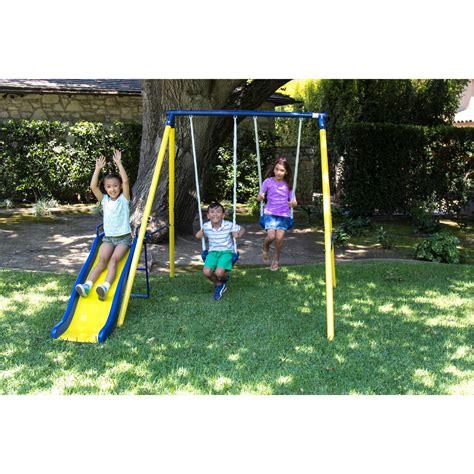 outdoor swing and slide sets sportspower power play time metal swing set outdoor kids