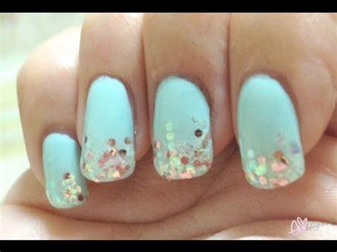nail art glitter tips tutorial mint glitter tip nail tutorial youtube