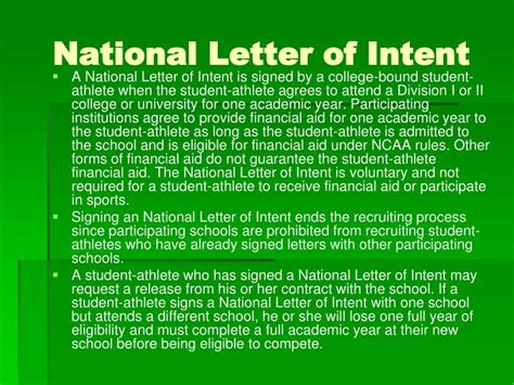 Release From National Letter Of Intent Ppt Getting Recruited Your Guide To College Athletics And The Ncaa Recruiting Process