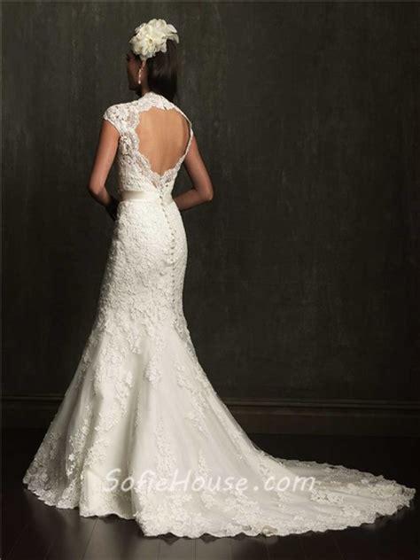 wedding dresses open back lace mermaid cap sleeve scalloped neck open back lace wedding