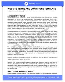 terms and conditions free template terms conditions templates sles for free