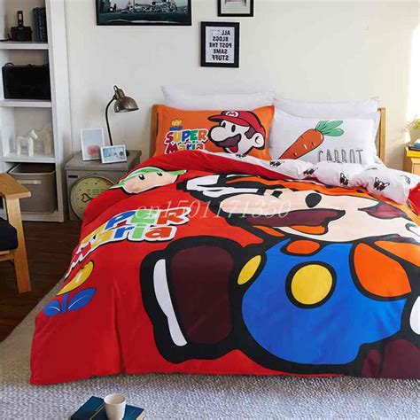 super mario comforter set fast shipping 100 cotton high quality super mario red