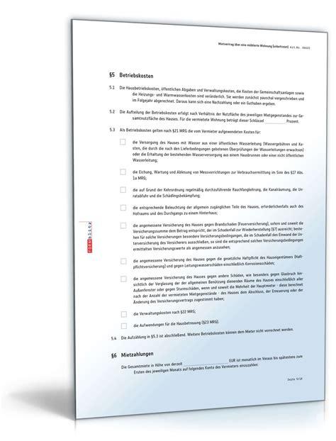 mietvertrag über eine wohnung unbefristeter mietvertrag 252 ber eine m 246 blierte wohnung