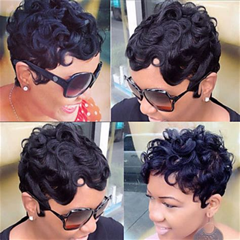 short hair syles with weave shownig part of your hair showing brazilian virgin human hair none lace wigs short natural