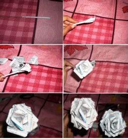cara membuat bunga dari kertas koran kerajinan tangan kreatif dengan barang bekas cara membuat