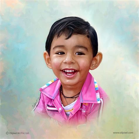 Child Portrait by Child Portrait Painting Digital Paintings By Oilpixel