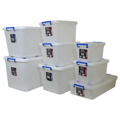 New Storage Box large strong plastic storage boxes wheels clip lids stackable box new ebay
