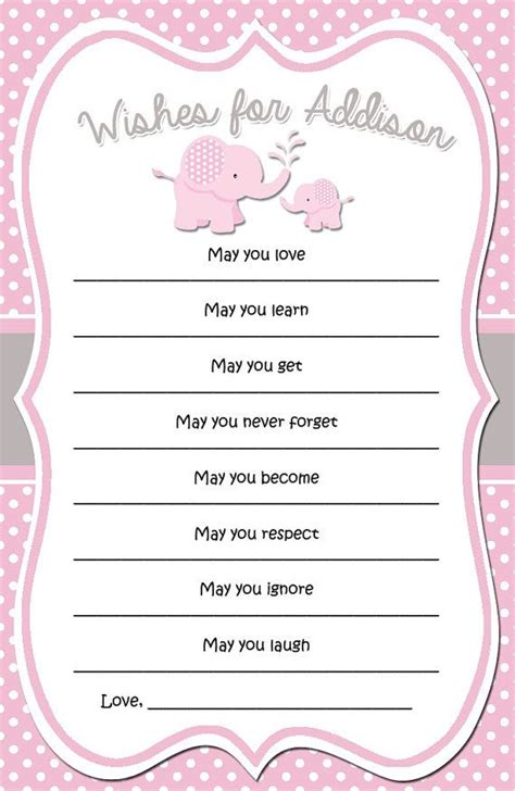 wishes for baby template pink and grey elephant baby shower wishes digital